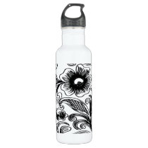 floral black and white stainless steel water bottle
