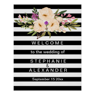 Floral Black And White Striped Wedding Poster
