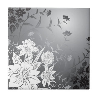 floral black and white tiles