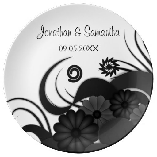 Floral Black and White Wedding 10.75 Ceramic Plate
