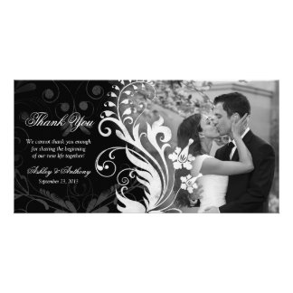 Floral Black and White Wedding Thank You Photocard Card