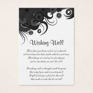 Floral Black and White Wedding Wishing Well Cards