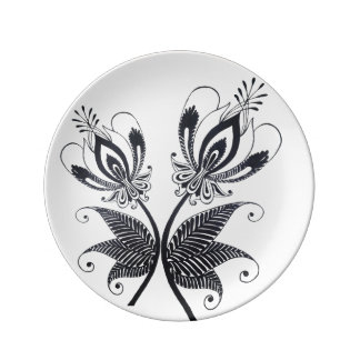 Floral Black Drawing Folkloric Surrealistic motif Dinner Plate
