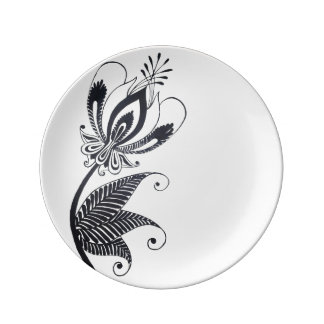 Floral Black Drawing Folkloric Surrealistic motif Plate