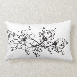 Floral Black Drawing Folkloric Surrealistic motif Throw Pillow