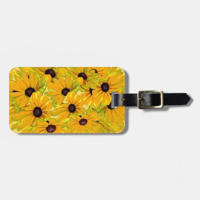 Floral Black Eyed Susan Flowers Luggage Tag