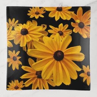 Floral Black Eyed Susan Flowers Trinket Tray