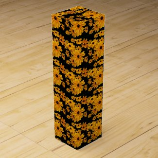 Floral Black Eyed Susan Flowers Wine Gift Box