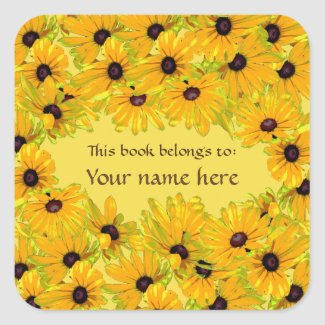 Floral Black Eyed Susan Flowers Yellow Bookplate