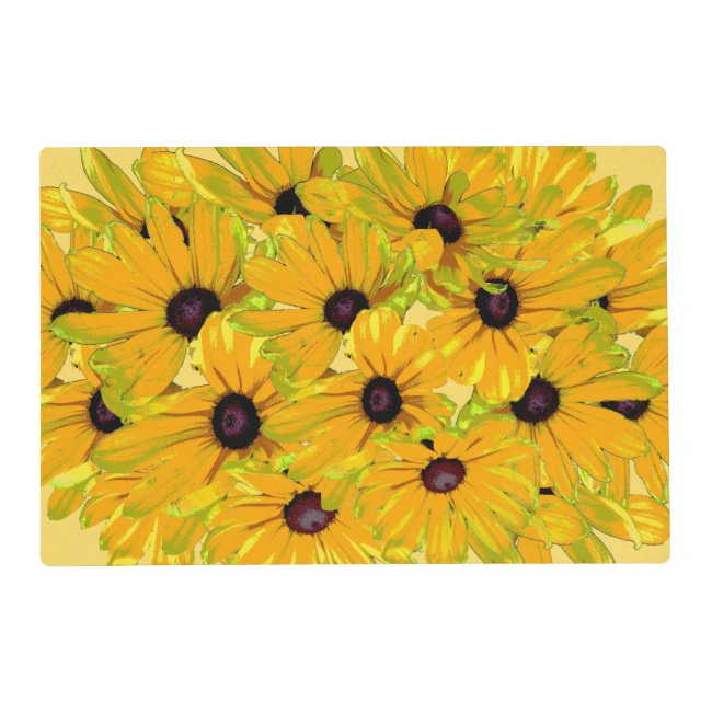 Floral Black Eyed Susan Flowers Yellow Placemat