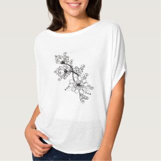 Floral black folk drawing surrealistic motif T-Shirt