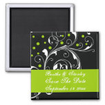 Floral black green wedding Save the Date 2 Inch Square Magnet