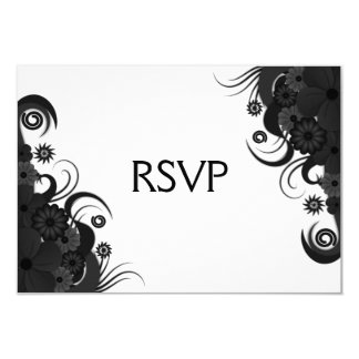 "Floral Black Hibiscus Gothic RSVP Response Card 3.5"" X 5"" Invitation Card"
