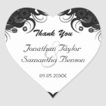 Floral Black Hibiscus Heart Wedding Favor Stickers