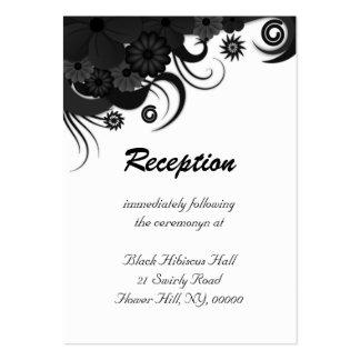 Floral Black Hibiscus Wedding Reception Enclosure Business Card Template
