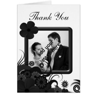 Floral Black Hibiscus Wedding Thank You Photo Card
