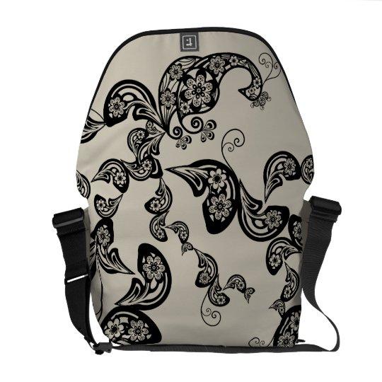 Floral Black Peacock Vintage Pattern Vector Art Courier Bag