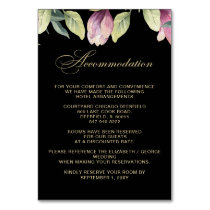 Floral Black Purple Gold wedding accommodation Card
