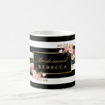 Floral Black Stripes Bridesmaid Bridal Shower Coffee Mug