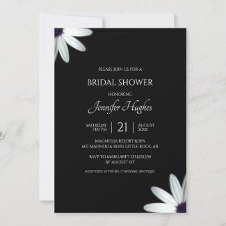 Floral Black & White Bridal Shower Invitation