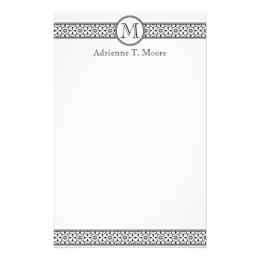 Floral Black White Monogram Initial Stationery
