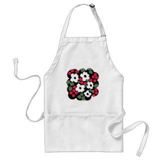 Floral black white pink green pattern adult apron