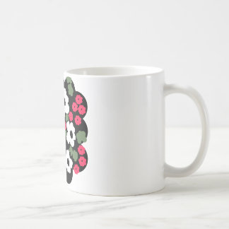 Floral black white pink green pattern coffee mug
