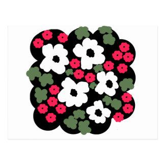Floral black white pink green pattern postcard