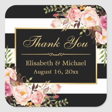 CardHunter Floral Black White Striped Gold Frame Thank You Square Sticker