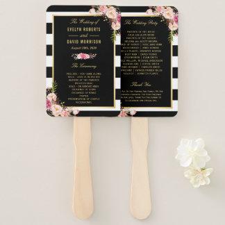 Floral Black White Stripes Classic Wedding Program Hand Fan