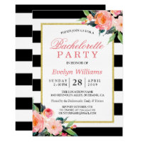 Floral Black White Stripes Gold Bachelorette Party Card