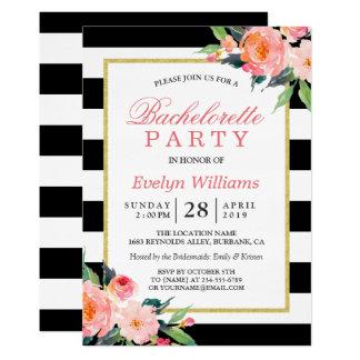 Floral Black White Stripes Gold Bachelorette Party Invitation