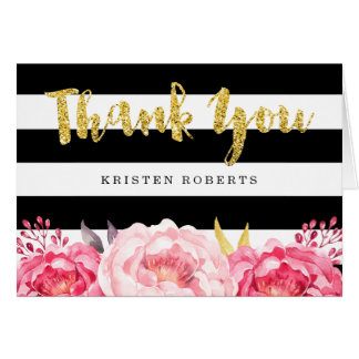 Floral Black White Stripes Gold Glitter Thank You Card