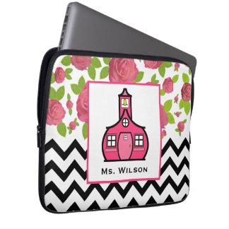 Floral & Black Zigzag Electronics Bag For Teachers Computer Sleeves