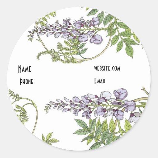 Floral blanco de la lavanda del vintage del pegatina redonda