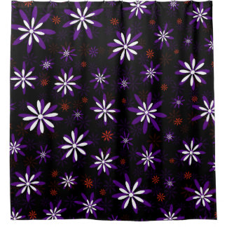 Floral blanco rojo púrpura cortina de baño