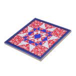 Floral blanco y azul rojo y puntos teja  ceramica