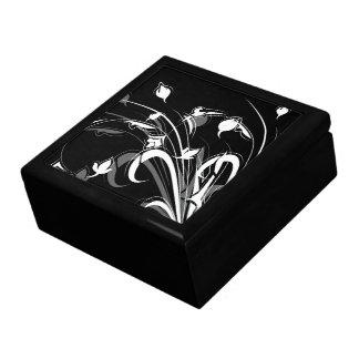 Floral blanco y negro elegante cajas de recuerdo