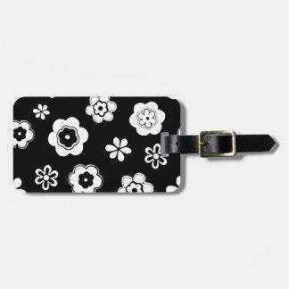 Floral blanco y negro etiqueta para maleta