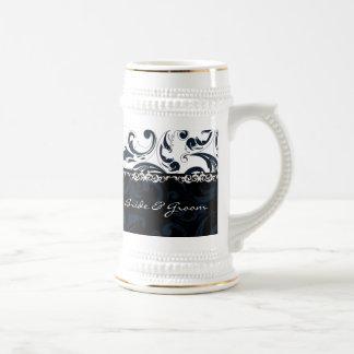 Floral blanco y negro jarra de cerveza