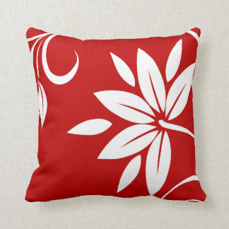 Floral blanco y negro rojo almohada