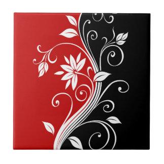 Floral blanco y negro rojo azulejo cuadrado pequeño
