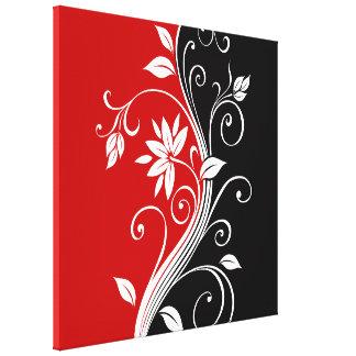 Floral blanco y negro rojo impresion de lienzo