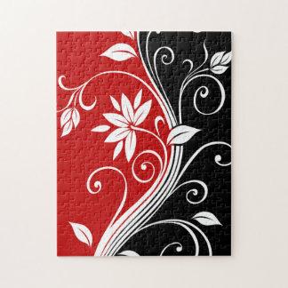 Floral blanco y negro rojo rompecabezas con fotos