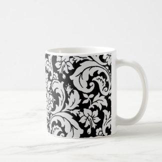 Floral blanco y negro tazas de café