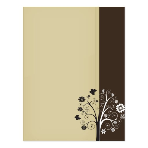 Floral blanco y negro y mariposas postales