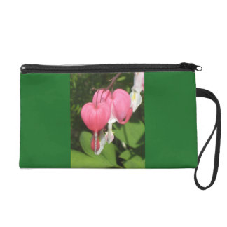 Floral Bleeding Heart Green Satin Fabric Wristlet