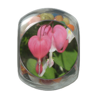 Floral Bleeding Heart Jelly Belly Candy Glass Jar