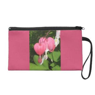 Floral Bleeding Heart Pink Satin Fabric Wristlet