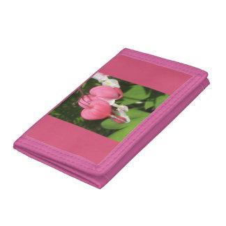 Floral Bleeding Heart Pink Trifold Nylon Wallet